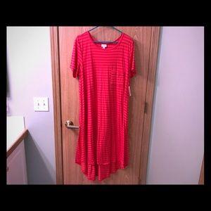 Lularoe Coral Striped Carly Dress - XL